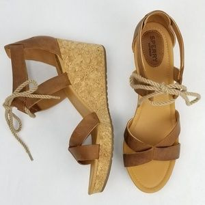 Sperry Leather Cork Wedge Sandal